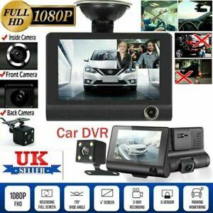 "4"" Car DVR Dash Cam GPS 3 Lens Front and Rear Video Recorder Camera G-sensor UK"