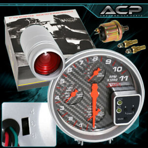 """For Scion Lexus 11K RPM 5"""" Tachometer Gauge Cluster Carbon Face w/ Shift Light"""
