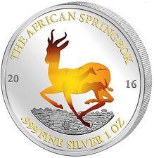 Afrikanischer Springbock Gabun Krügerrand Motiv 2016 st - 1 Unze Silber color