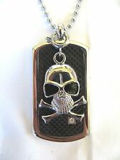 Skull Dog Tag with Diamond and 22 Inch Chain
