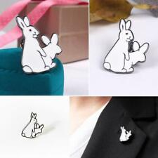 1pc Evil White Rabbits Animal Brooch Bunny Enamel Metal Buckle Lapel Pins Badge