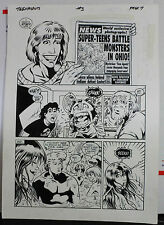 JACK KIRBY'S TEENAGENTS #3 PAGE 7 1993 ORIGINAL ART-NEIL VOKES & JOHN BEATTY Comic Art