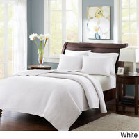 BEAUTIFUL ULTRA SOFT CLASSIC WHITE COZY WARM TEXTURED QUILT SET QUEEN & KING SZS