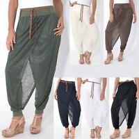 Pantalones Ancho Mujer Bombacho Baggy Cintura Alta Harem Hippie Finos Originales