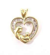 10k Solid Gold Mother and Child Heart Pendant Diamond Details Cute Free Shipping
