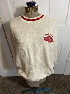 White Ohio State Crochet Sweater Size XL Nutmeg Mills Made In U.S.A