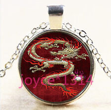 Vintage Dragon Cabochon Tibetan silver Glass Chain Pendant Necklace #3696