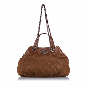 Pre-Loved Chanel Brown Lambskin Leather Classic In the Mix Satchel ITALY