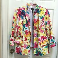 Investments Ladies size 18W Jacket Textured Colorful Floral Lined open front