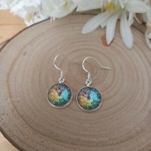 Mandala boho yoga glass earrings. Sterling silver 925 earring hooks. Gift boxed.