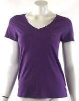 Gilligan O'Malley Top Small Purple Short Sleeve V Neck Pocket Tee Shirt Womens