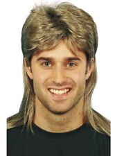 Brown with Blonde Highlights Mullet Wig Adult Mens Smiffys Fancy Dress Costume