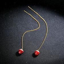 Yellow Gold Plated Enamel Strawberry Women Elegant Fashion Earrings Drop Jewelry