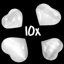 XL Polished Natural Selenite Crystal Hearts LOT of 10 Puffy Carved Stones BULK