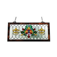 Stained Glass Fleur De Lis Pub Window Transom Panel Tiffany Style 30 L x 14 H