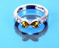 Auth Folli Follie Sterling Silver 925 Couple Heart Stone Finger Ring US Size 5.5