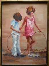 MADELEINE ROBERTS, LISTED CALIFORNIA MODERN PINK IMPRESSIONIST CHILDREN PLAYING