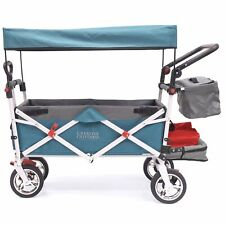 Push Pull SILVER SERIES Folding Wagon Stroller with Canopy | Teal