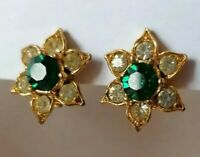 Vintage 50s Flower Earrings Green Clear Rhinestone Crystal Gold Tone Clip On