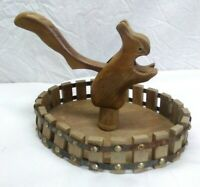 Vintage Wood squirrel  Nut Cracker with wooden bowl