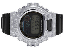 Casio Mens G Shock 6900 Stainless Steel Genuine White Diamond Watch 3.0 Ct