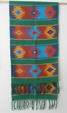Table runner Aztec - Green, Black or Beige - fringed tapestry  Mexico Guatemala