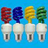 2x 15W coloré Basse Energie CFL Spirale Fête Ampoule Vis Edison ES E27 Lampe