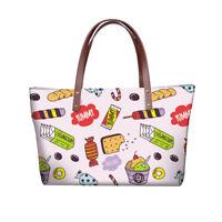 Ladies Womens Food Print Shoulder Bag Lovely Hand Tote Large Shopping Handbag