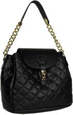 Leder Schwarz Handtasche  gesteppt quilted leather Made in Italy Handbag black