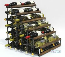 Double depth 54 bottle dark oak stained wood and metal wine rack ready to use