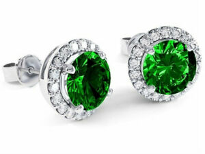 Natural Emerald and White Topaz Halo Stud Earrings in Sterling Silver Plating