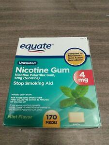 Equate Nicotine Polacrilex Gum, 4 mg, Mint Flavor 170 Pieces. Exp 03/2023