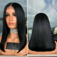 Short Bob Lace Front Wigs Synthetic Glueless Black Straight Hair Heat Resistant~