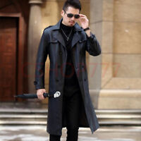Chic Mens fashion Lapel Collar Double Breasted long Leather Formal Coats Jackets