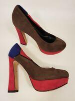 E.S.S size 5 (38) brown / pink / blue faux suede platform block heel court shoes