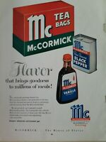 1957 McCormick tea bags black pepper tin vanilla extract bottle vintage ad