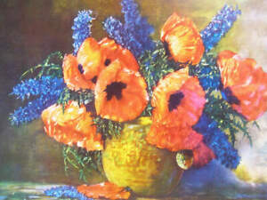 Poppies Delphiniums by Max Streckenbach 12 x 16