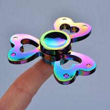 Colorful Dazzling Rainbow Titanium Alloy Heart Clover Tri Fidget Spinner Metal