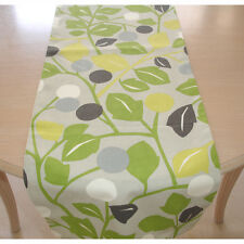 "7ft Long Leaf Table Runner 210cm Green Yellow Grey 84"" Lime Kiwi Abstract Leaves"