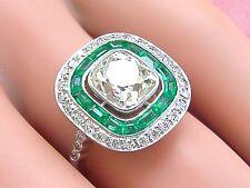 ANTIQUE ART DECO 2.18ct MINE CUSHION DIAMOND HALO EMERALD COCKTAIL RING 1930 EGL