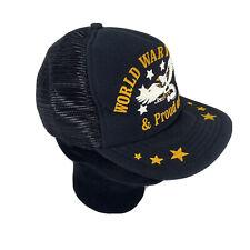 WWII Veteran Hat Trucker Farm Ball cap black snapback Made in USA Mesh Vtg