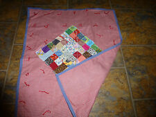 """Handmade Tied Doll/Baby Quilt 28"""" x 28 """" Gingham Red/Diamond Design"""