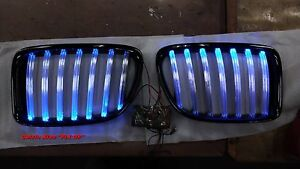 MIT GLOSS BLACK FRONT KIDNEY GRILLE WITH BLUE LED BMW X1 E84 X SERIES 2009-2014
