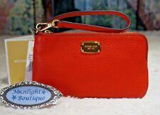 NWT Michael Kors JET SET MD 3 QTR Wristlet/Wallet SIENNA RED Pebbled Leather $78