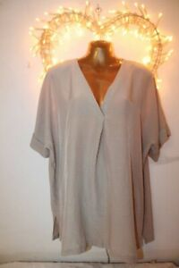 NEW GORGEOUS FLOWING SILKY BEIGE BLOUSE SHIRT TUNIC TOP 22 24 MARKS SPENCER £30