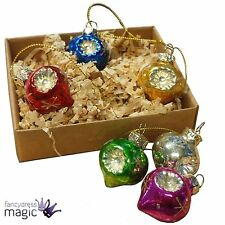 Gisela Graham 6 Retro Multi Antique Glass Dimpled Ogee Christmas Tree Decoration