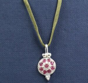 """Solid 925 Sterling Silver Jewelry Faceted Round Ruby 14.5+2"""" Necklace SN2356"""