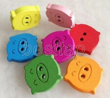 100pcs Mixed Color Animal Pig Shape Wooden Buttons Fit Sewing/Scrapbook snk200