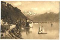 CPA Suisse Lémanique Château de Chillon Lac et bateaux
