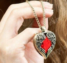 Vintage Red Rhinestone Heart Wrap by Angel Wing Pendant Fashion Necklace SH958